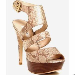 Guess Onani Gold/Tan Snake Print Platform Heels